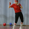 MIKE SPRINGER/Staff photo<br /> Kristina Sanborn of Derry, playing for the Palmer Gas and Oil team, dodges a ball while competing in the Chamber Business After Hours third-annual dodgeball tournament Wednesday at the Plaistow Community YMCA. The event collects food and gifts for the YMCA's Giving Trees, which are located in the lobbies of the Plaistow and Haverhill YMCAs. The collected items will be distributed to families in need.<br /> 11/20/2019