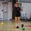 MIKE SPRINGER/Staff photo<br /> Sarah Berry of Salem, New Hampshire, playing with the Palmer Gas and Oil team, competes in the Chamber Business After Hours third-annual dodgeball tournament Wednesday at the Plaistow Community YMCA. The event collects food and gifts for the YMCA's Giving Trees, which are located in the lobbies of the Plaistow and Haverhill YMCAs. The collected items will be distributed to families in need.<br /> 11/20/2019