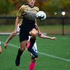CARL RUSSO/Staff photo Haverhill's Louis Dimopoulos makes a quick move in front of Methuen player to control the ball. Haverhill defeated Methuen 4-0 in boys soccer action Tuesday afternoon. 10/22/2019