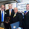 CARL RUSSO/Staff photo GAZETTE: From left, recipient of the Wilkinson Good Citizenship Award, Antonio Lopez Jr., partner, Lopez, Chaff and Wiesman Associates; Governor Charlie Baker; Merrimack Valley Chamber president and CEO, Joseph Bevilacqua and chairman of the Merrimack Valley Chamber, Salvatore Lupoli.  <br /> <br /> The Merrimack Valley Chamber of Commerce held their annual 2019 dinner and award ceremony. The event, held at DiBurro's Function Facility  Wednesday night, featured Massachusetts Governor, Charlie Baker as the guest speaker. 10/02/2019