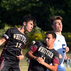 CARL RUSSO/Staff photo. Whittier's captain, Jack Latauskas, left and Nate Cartier fight to head the ball. Cartier had two goals. Whittier Tech. defeated the Minuteman 3-0 in boys soccer action Monday afternoon. 9/16/2019