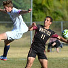 CARL RUSSO/Staff photo. Whittier's Nathan Cartier fights for the ball. He had two goals in the game. Whittier Tech. defeated the Minuteman 3-0 in boys soccer action Monday afternoon. 9/16/2019