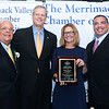CARL RUSSO/Staff photo GAZETTE: From left, Merrimack Valley Chamber president and CEO, Joseph Bevilacqua,    Governor Charlie Baker, Community Spirit Award recipient, Trudy Lawler, president/CEO  A.P. Michaud Insurance Agency Inc. and chairman of the Merrimack Valley Chamber, Salvatore Lupoli.     <br /> <br /> The Merrimack Valley Chamber of Commerce held their annual 2019 dinner and award ceremony. The event, held at DiBurro's Function Facility  Wednesday night, featured Massachusetts Governor, Charlie Baker as the guest speaker. 10/02/2019