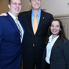 CARL RUSSO/Staff photo GAZETTE: Representing Middlesex Community College, Adam Nichols and Julia Hryniewich have their photo taken with The Governor Baker. <br /> <br /> Merrimack Valley Chamber of Commerce held their annual 2019 dinner and award ceremony. The event, held at DiBurro's Function Facility  Wednesday night, featured Massachusetts Governor, Charlie Baker as the guest speaker. 10/02/2019