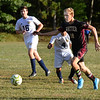 CARL RUSSO/Staff photo. Whittier's Kevin Couturier moves the ball in scoring position. Whittier Tech. defeated the Minuteman 3-0 in boys soccer action Monday afternoon. 9/16/2019