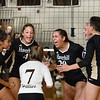 CARL RUSSO/Staff photo Haverhill Hillies, clockwise from left, Lismari Valdez, Jadalee Burdier, Julia DelRosso, Shea Vadeboncoeur, Kyalee Burdier and Shiloh Osmer celebrate winning the first game. Haverhill high defeated Methuen 3-0 in volleyball action at Haverhill high school Wednesday afternoon. 9/11/2019