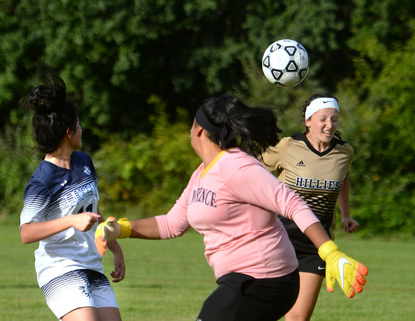 CARL RUSSO/staff photo. Haverhill captain Felicya DeCicco attempts to score with a head shot. Haverhill defeated Lawrence high 5-0 in girls soccer actionThursday afternoon. 9/5/2019