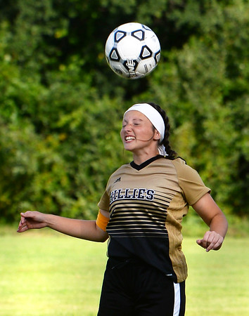 CARL RUSSO/staff photo. Haverhill captain Felicya DeCicco heads the ball. Haverhill defeated Lawrence high 5-0 in girls soccer actionThursday afternoon. 9/5/2019