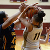 CARL RUSSO/staff photo. Whittier's Ally Talley fights for the ball. Gr. Lowell at Whittier Tech. girls basketball. 1/31/2020.