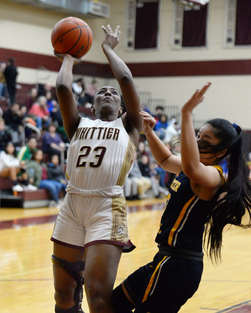 CARL RUSSO/staff photo. Grace Efosa drives to the basket for the layup. Gr. Lowell at Whittier Tech. girls basketball. 1/31/2020.