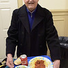 TIM JEAN/Staff photo <br /> <br /> Vincent Bonanno, of Methuen, gets ready to enjoy dinner during the Haverhill Sons of Italy pasta dinner in the basement of All Saints Church. The dinner featured salad, pasta, bread, and meatballs made by Larry Gaiero, the winner of last year's meatball cooking contest.    2/22/20
