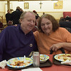 TIM JEAN/Staff photo <br /> <br /> James Morrison and Teresa Fielding, both of North Andover, enjoy dinner during the Haverhill Sons of Italy pasta dinner in the basement of All Saints Church. The dinner featured salad, pasta, bread, and meatballs made by Larry Gaiero, the winner of last year's meatball cooking contest.    2/22/20