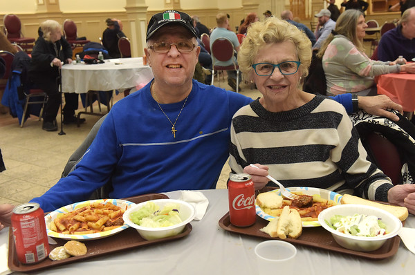 TIM JEAN/Staff photo <br /> <br /> Gregory and Annette Distefand, of Haverhill, enjoy dinner during the Haverhill Sons of Italy pasta dinner in the basement of All Saints Church. The dinner featured salad, pasta, bread, and meatballs made by Larry Gaiero, the winner of last year's meatball cooking contest.    2/22/20