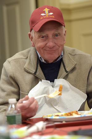 TIM JEAN/Staff photo <br /> <br /> Joseph Seymour, of Haverhill, enjoys his dinner during the Haverhill Sons of Italy pasta dinner in the basement of All Saints Church. The dinner featured salad, pasta, bread, and meatballs made by Larry Gaiero, the winner of last year's meatball cooking contest.    2/22/20