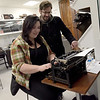 TIM JEAN/Staff photo <br /> <br /> Brooke Lambert and Ken Almquist, both of Malden, type a letter on a vintage typewriter during Hot Metal Day at the Museum of Printing in Haverhill.   2/1/20