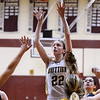 CARL RUSSO/staff photo. Whittier's Rachel McGrath takes the short jumper. Gr. Lowell at Whittier Tech. girls basketball. 1/31/2020.