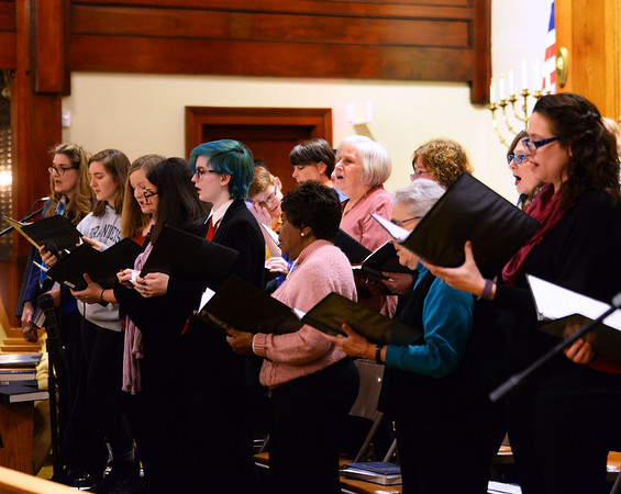 CARL RUSSO/Staff photo. A Shabbat service and tribute to Martin Luther King Jr., presented in partnership with Calvary Baptist Church of Haverhill was held Friday night at Temple Emanu-El.  Cantor Vera Broekhuysen and Rabbinic Intern Jennifer Stevens conducted the service along with Joe Devoe, music ministries director for Calvary Baptist Church. 1/17/2020