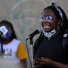 TIM JEAN/Staff photo<br /> <br /> Alexis Galloway, of Haverhill speaks to the hundreds who gathered during a Black Lives Matter protest and march in Haverhill. The rally started outside of Trinity Stadium and marched to GAR park.   6/13/20