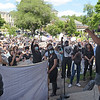 TIM JEAN/Staff photo<br /> <br /> Dennis Everett, of Haverhill speaks to the hundreds who gathered during a Black Lives Matter protest and march in Haverhill. The rally started outside of Trinity Stadium and marched to GAR park.   6/13/20