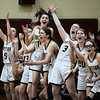CARL RUSSO/Staff Photo Whittier's bench errupts after a three point basket as the Wildcats keep the score close in the first half. Winthrop high defeated Whittier Tech. 55-39 in Div. 3 North quarterfinals in girls basketball action Thursday night. 2/27/2020
