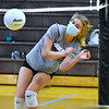 CARL RUSSO/staff photo. Junior varsity player, freshman Taylor Lewis struggles to keep the ball in play. The Haverhill Hillies' volleyball teams have been getting ready for the season to open.  <br /> <br /> The varsity and junior varsity (seen here) practiced on Friday, October 16 to get ready for their first away game on Saturday, October 17 against Dracut high. 10/16/2020