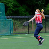 TIM JEAN/Staff photo<br /> <br /> Emma Crocket, 14, throws the ball after catching it during a softball clinic held at Haverhill High School.    8/27/20