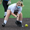 TIM JEAN/Staff photo<br /> <br /> Megan Manning, 13, fields a ground ball during a softball clinic held at Haverhill High School. The clinic was run by the Haverhill Recreation Department and for girls ages 5 to 14 and held over several days.    8/27/20