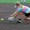 TIM JEAN/Staff photo<br /> Gwen Henning, 11, fields a ground ball during a softball clinic held at Haverhill High School. The clinic was run by the Haverhill Recreation Department and for girls ages 5 to 14 and held over several days.    8/27/20