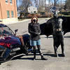 ALLISON CORNEAU/Staff photo<br /> Superintendent Margaret Marotta, left, chatted with Batman about keeping a superhero-sized wingspan of distance between one another to stay safe and healthy.
