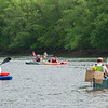 AMANDA SABGA/Staff photo<br /> <br /> Racers take off in Lawrence as 107 canoes, kayaks and even a paddle board brave the Merrimack River for the 40th Annual hillbilly themed Lou Marcel Memorial Canoe Race on the Merrimack River.<br /> <br /> 6/2/18