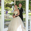 CARL RUSSO/Staff photo. GAZETTE:  Haverhill high senior, Allison House and her date, Haverhill high sophomore, Michael Galvin have their picture taken in the Bradford Common gazebo. Haverhill High School and Whittier Tech. High School seniors gathered at the Bradford Common for photos before attending their proms Tuesday night.  5/29/2018