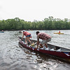 AMANDA SABGA/Staff photo<br /> <br /> Racers launch their canoes in Lawrence as 107 canoes, kayaks and even a paddle board brave the Merrimack River for the 40th Annual hillbilly themed Lou Marcel Memorial Canoe Race on the Merrimack River.<br /> <br /> <br /> 6/2/18