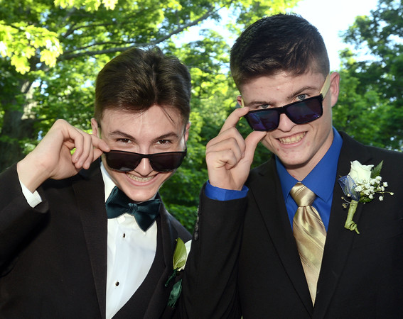 CARL RUSSO/Staff photo. GAZETTE:  Whittier Tech. seniors, Nick Gangi of Methuen and Michael McAuliffe of Haverhill are ready to party. Haverhill High School and Whittier Tech. High School seniors gathered at the Bradford Common for photos before attending their proms Tuesday night.  5/29/2018
