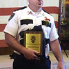 TIM JEAN/Staff photo<br /> <br /> Correctional Professionals of the Year recipient Capt. Rick Ferrari says a few words during the Exchange Club of Haverhill Annual First Responders Award Luncheon held at Maria's Family Restaurant in Haverhill.  6/3/21