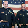 TIM JEAN/Staff photo<br /> <br /> Law Enforcement Officers of the Year: Officer Adam Durkee, left, and Officer Conor Clark pose a photo during the Exchange Club of Haverhill Annual First Responders Award Luncheon held at Maria's Family Restaurant in Haverhill.  6/3/21