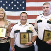 TIM JEAN/Staff photo<br /> <br /> Correctional Professionals of the Year recipients from left to right, Taylor Smith, Director of Nursing, Lt. Jotham Garbin, and Capt. Rick Ferrari, pose for a photograph during the Exchange Club of Haverhill Annual First Responders Award Luncheon held at Maria's Family Restaurant in Haverhill.  6/3/21