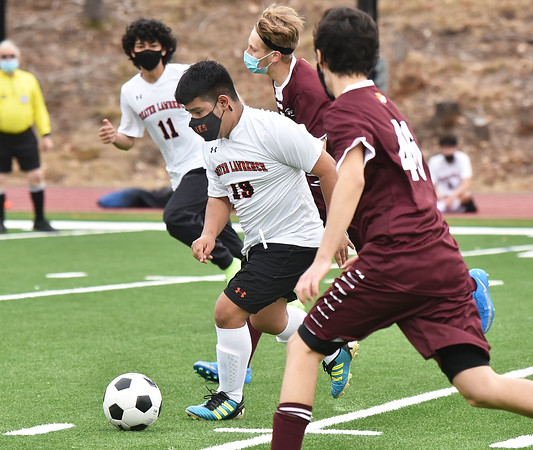 CARL RUSSO/staff photo Greater Lawrence's Deyvi Gomez controls the ball. Whittier Tech. high school defeated Greater Lawrence Tech. 7-0 in boys'  soccer action Wednesday afternoon. 3/24/2021
