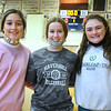 CARL RUSSO/staff photo. HAVERHILL VARSITY CAPTAINS: From left, Seniors, Jada Burdier, Shiloh Osmer and Victoria Giampa. The Haverhill Hillies' volleyball teams have been getting ready for the season to open. <br /> <br /> The varsity and junior varsity (seen here) practiced on Friday, October 16 to get ready for their first away game on Saturday, October 17 against Dracut high. 10/16/2020