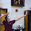 CARL RUSSO/staff photo. Junior varsity player, junior Maeve Saindon serves the ball. The Haverhill Hillies' volleyball teams have been getting ready for the season to open. <br /> <br /> The varsity and junior varsity (seen here) practiced on Friday, October 16 to get ready for their first away game on Saturday, October 17 against Dracut high. 10/16/2020
