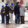 BEN GARVER — THE BERKSHIRE EAGLE<br /> BMC registered nurses and MNA supporters gather at Park Square in Pittsfield to march a petition to Pittsfield Cooperative Bank asking trustees to support union demands in contract talks, Monday, January 8, 2018.
