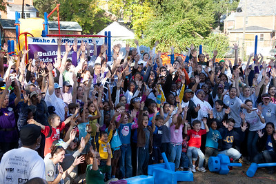 Volunteers celebrate after a hard day's work building a playground from the ground-up in Washington, DC with the organizations KaBOOM! On Saturday October 23rd, more than 500 volunteers from the White House, the Corporation for National and Community Service, federal agencies and the local community volunteered as part of Make a Difference day. 2010 marked the 20th anniversary of this day, an effort led by USA Weekend and the HandsOn Network. Together these volunteers build a complete playground in just under six hours at Hyde Leadership Public Charter School.   Attendees included Secretary Arne Duncan, from the Department of Education; Secretary Tom Vilsack, from the Department of Agriculture; Secretary Ray LaHood from the Department of Transportation; Secretary Tom Donovan from the Department of Housing and Urban Development and Corporation for National and Community Service CEO Patrick Corvington.