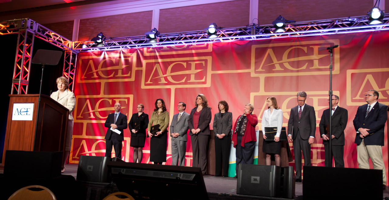 CEO CNCS, Wendy Speaker announcing the 2013 Presidential Honor Roll Award Winners for Community Service on stage at the Annual ACE meeting in Washington, D.C. Corporation for National and Community Service Photo.