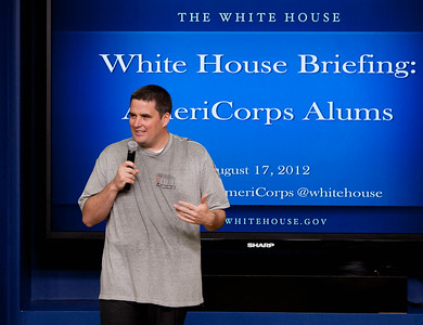 Macon Phillips, AmeriCorp Alum and Director of Digital Strategy at the White House speaks to AmeriCorps Alums about the positive change they're are making across the county. Corporation for National and Community Service Photo.