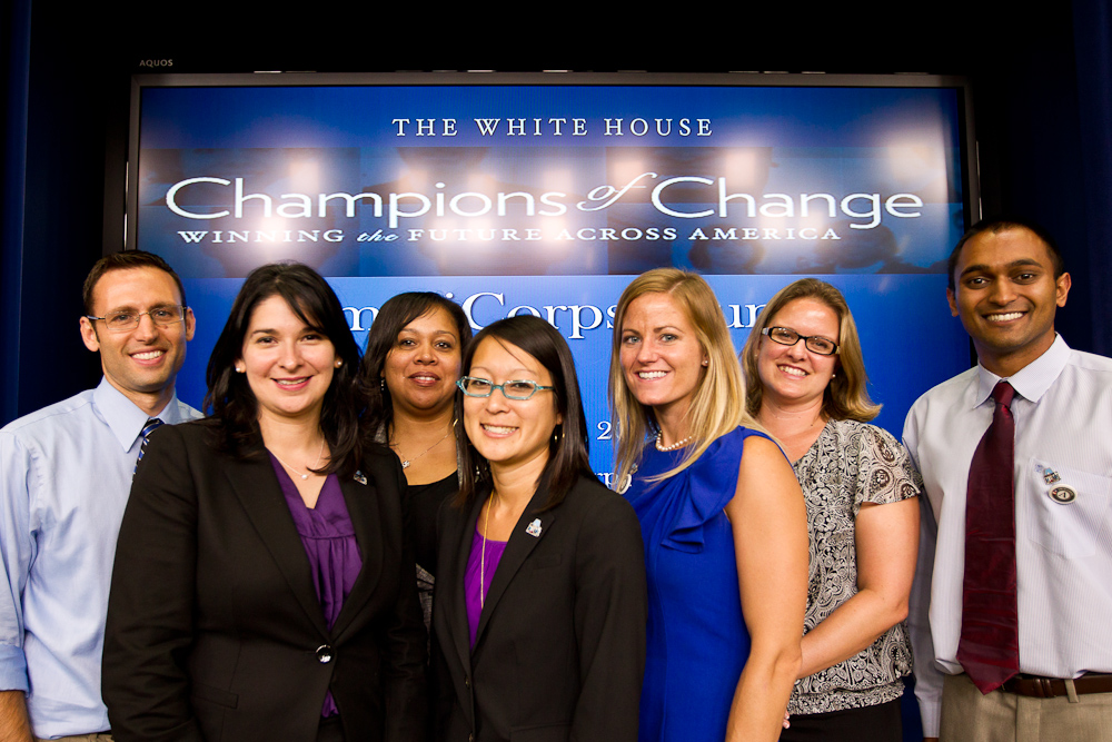 Champion of Change recipients pose for a group pictures at the AmeriCorps Alums Day at the White House. Corporation for National and Community Service Photo. Corporation for National and Community Service Photo.