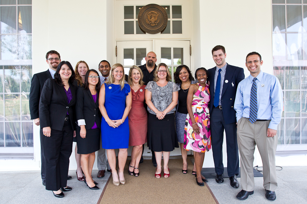 AmeriCorps Alums honored as White House Champions of Change. Ben Duda, Executive Director, AmeriCorps Alums; Marissa Mikoy, Director of Operations and Evaluation, the Teaching Trust; Christine Riley, Director of Corporate Social Responsibility, Dunkin Donuts; Noelle Ito, Director of Community Philanthropy, Asian Americans/Pacific Islanders in Philanthropy; Shonak Patel, Co-founder, Gather Education; Morgan Tracey, attorney and member, United States National Skeleton Program; Nicole Trimble; Director of Corporate Responsibility, Coinstar,Inc; Mayor John Fetterman, Braddock, Penn; Dr. Sharon Wagner, Assistant Professor, School of Economics, University of Maine; Delores Morton, President, Points of Light's Programs Division; Rhonda Ulmer, Founding Director, University for Parents; Tim Morehouse, U.S. Olympic Team medalist; Seth Marbin,  Program Manager, Google's Social Responsibility Team. (CNCS Photo by Scott Julian)