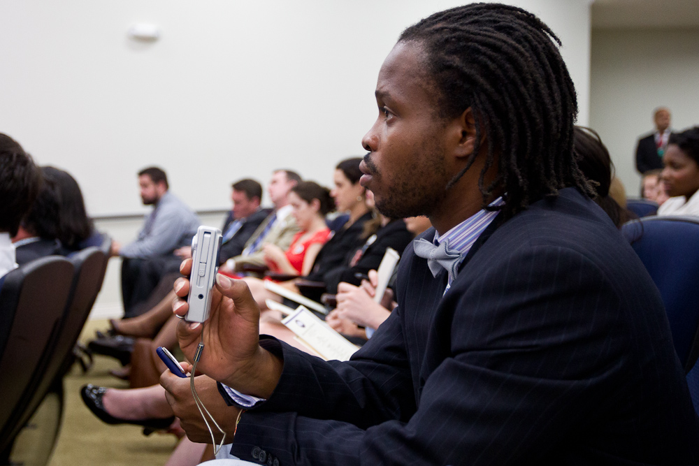 An AmeriCorps Alum, records video of speakers at the AmierCorps Alums Day at the White House. Corporation for National and Community Service Photo.