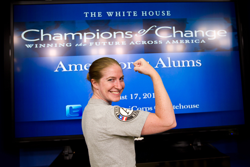 An AmeriCorps Alum poses for a picture at the AmeriCorps Alums Day at the White House. Corporation for National and Community Service Photo.