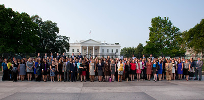 AmeriCorps Champions of Change and Alum stand in front of the White House for a group photo. Corporation for National and Community Service Photo.