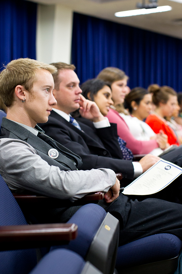 An AmeriCorps Alum listens to speakers at the AmeriCorps Alums Day at the White House. Corporation for National and Community Service Photo
