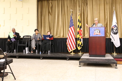 CNCS CEO Wendy Spencer speaks during the AmeriCorps NCCC open house in Dundalk, Maryland. Corporation for National and Community Service Photo.